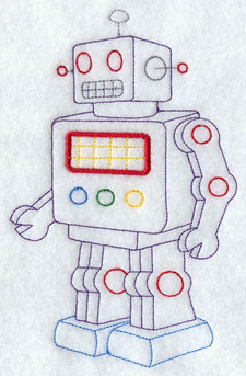 A retro wind-up robot machine embroidery design.