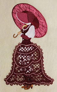 Machine embroidery Umbrella Girl design with coordinating Battenburg lace skirt.