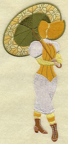 Machine embroidered Umbrella Girl design.