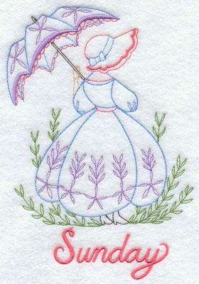 Days of the week Umbrella Girl machine embroidery designs--Sunday.