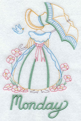Days of the week Umbrella Girl machine embroidery designs--Monday.
