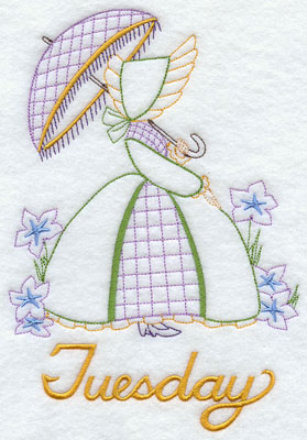 Days of the week Umbrella Girl machine embroidery designs--Tuesday.