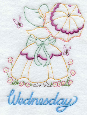 Days of the week Umbrella Girl machine embroidery designs--Wednesday.