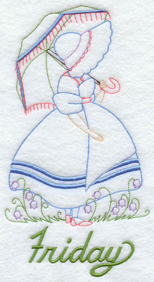 Days of the week Umbrella Girl machine embroidery designs--Friday.