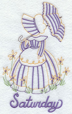 Days of the week Umbrella Girl machine embroidery designs--Saturday.
