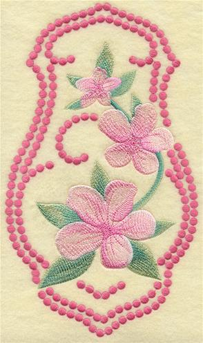 Peach blossoms machine embroidery design with candlewicking border.
