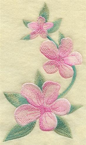 Peach blossoms machine embroidery design.