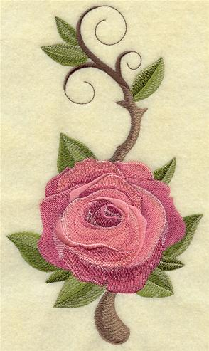 Machine embroidered rose and leaves design.