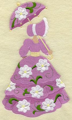 Umbrella Girl machine embroidery design.