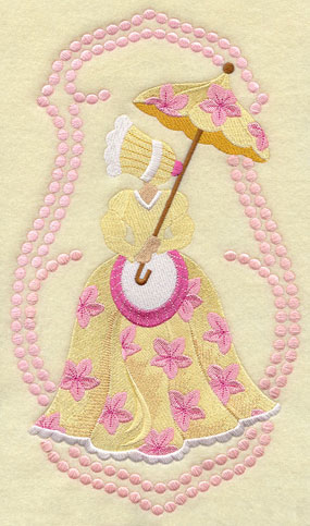 Umbrella Girl machine embroidery design with candlewicking.
