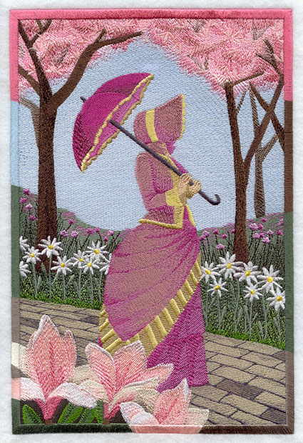 Umbrella Girl or Southern Belle machine embroidered garden scene.
