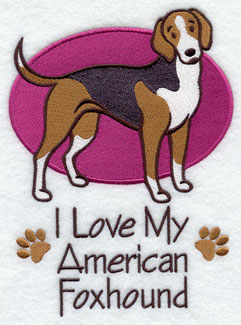 """I Love My American Foxhound"" dog machine embroidery design."