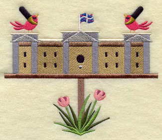 A Buckingham Palace birdhouse machine embroidery design.