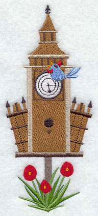 A Big Ben birdhouse machine embroidery design.