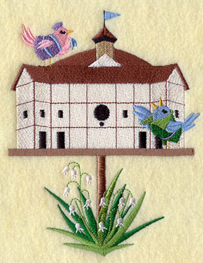 A Globe Theater birdhouse machine embroidery design.
