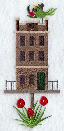 A Charles Dickens' house birdhouse machine embroidery design.