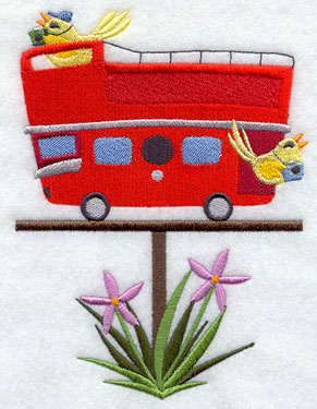 A double-decker London bus birdhouse machine embroidery design.