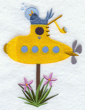 A yellow submarine birdhouse machine embroidery design.