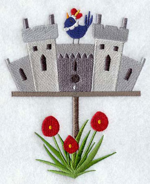 A Windsor Castle birdhouse machine embroidery design.
