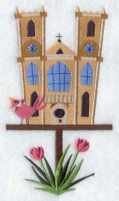A Westminster Abbey A Westminster Abbey birdhouse machine embroidery design.