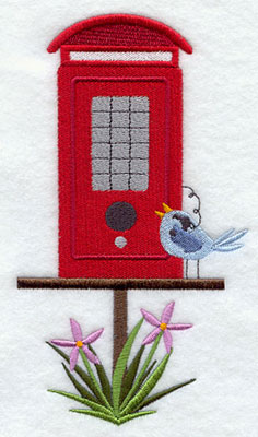A red telephone box birdhouse machine embroidery design.