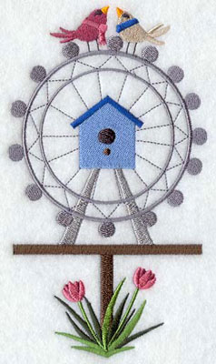 A London Eye or Ferris wheel birdhouse machine embroidery design.
