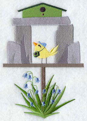 A Stonehenge birdhouse machine embroidery design.