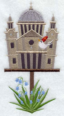 A St. Paul's Cathedral birdhouse machine embroidery design.