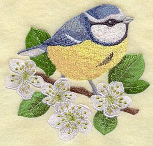 A blue tit on a blackthorn branch machine embroidery design.
