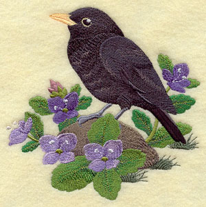 A British blackbird sitting in brooklime machine embroidery design.