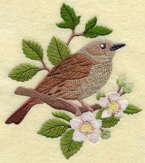 A dunnock roosting in a flowering blackberry bush machine embroidery design.
