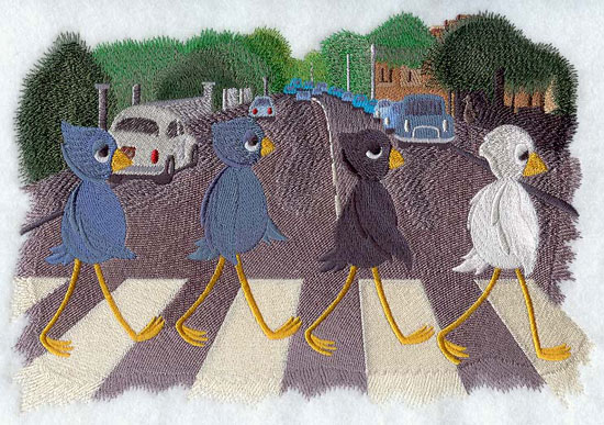 Four birds crossing Abbey Road in an homage to the Beatles machine embroidery design.