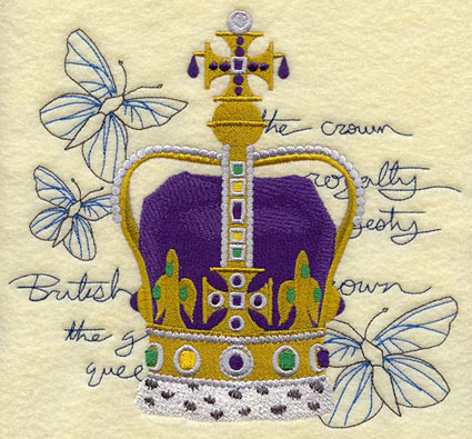 A crown backed by light-stitching butterflies and text machine embroidery design.