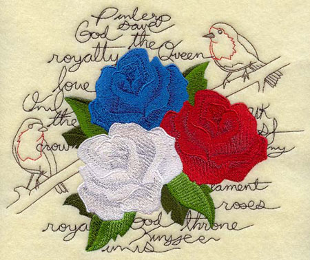 Three roses in the blue, red, and white colors of the Union Jack are framed by light-stitching text and birds.