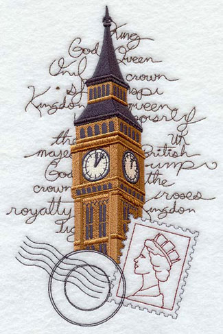 A machine embroidery design of Big Ben and a stamp with the Queen's silhouette.