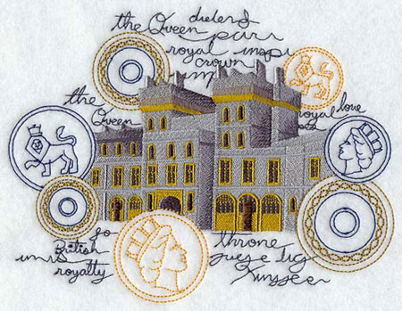 A machine embroidery design of Westminster Castle framed by coins and text.