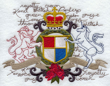 A coat of arms machine embroidery design, based on England's coat of arms.