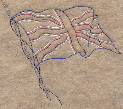 A light-stitching Union Jack machine embroidery design.