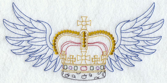 A crown with wings machine embroidery design.