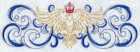 A border with an eagle surrounded by filigree machine embroidery design.