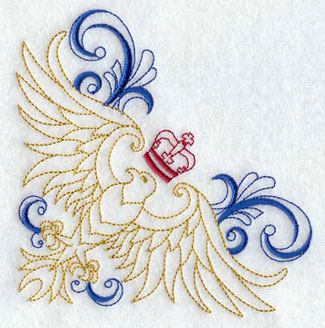 A corner with an eagle surrounded by filigree machine embroidery design.