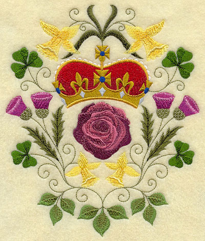 A Diamond Jubilee design with a rose, daffodils, thistle, and shamrock.
