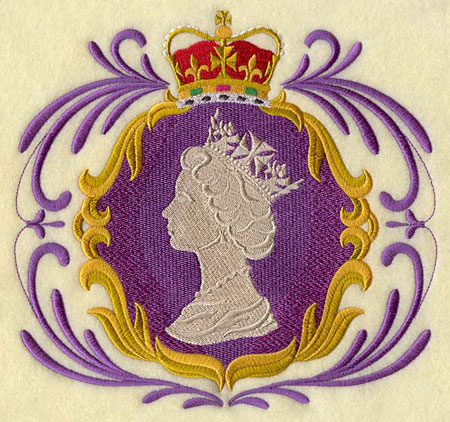 Queen Elizabeth II's silhouette framed by filigree and topped by a crown machine embroidery design.