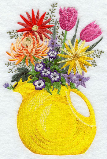 A Fiestaware pitcher filled with flowers machine embroidery design.