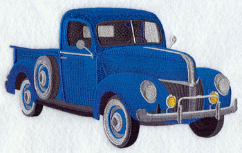 A 1940's Ford pickup truck machine embroidery design.