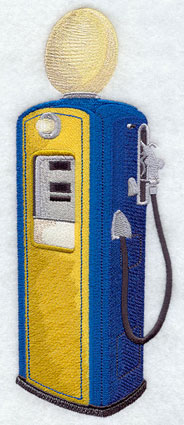 A vintage gasoline pump machine embroidery design.