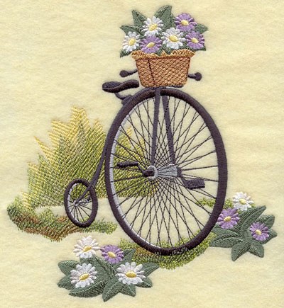 A penny-farthing or old fashioned bicycle machine embroidery design.