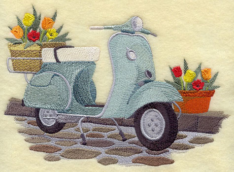 A vintage 1959 Vespa scooter machine embroidery design.