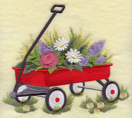 A machine embroidered little red wagon with flowers.