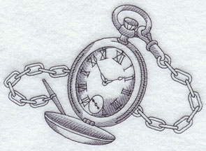 A light-stitching antique pocket watch machine embroidery design.